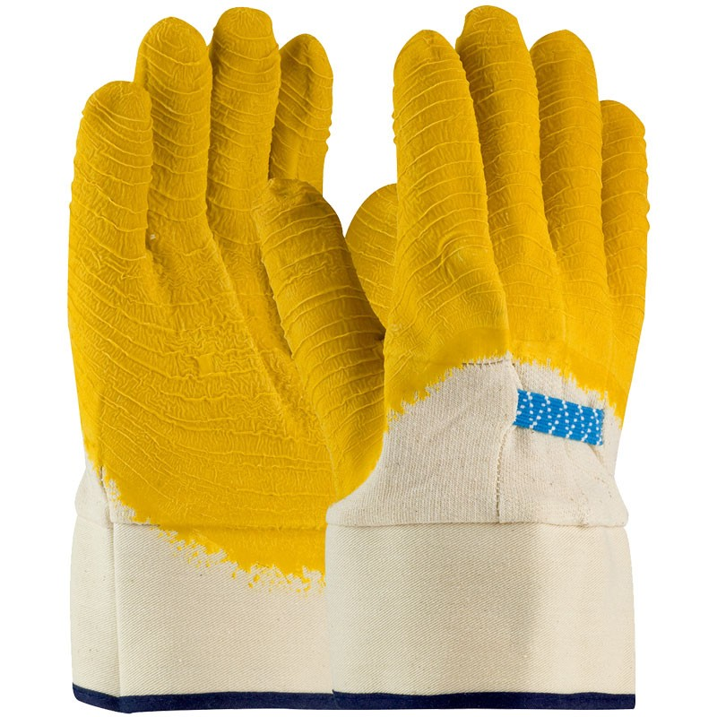 Canvas Glove, Safety Cuff,  3/4 Coverage Latex Crinkle Coat, Universal Size