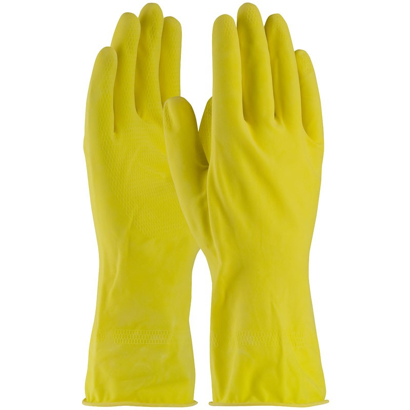 "12"" 16 Mil. Yellow Latex Glove, Embossed Grip, Flock Lined, Medium"