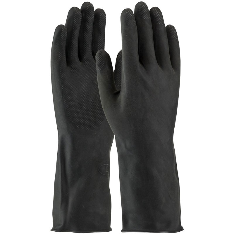 "13"" 28 MIl Black Latex Glove, Embossed Grip, Flock Lined, X-Large"