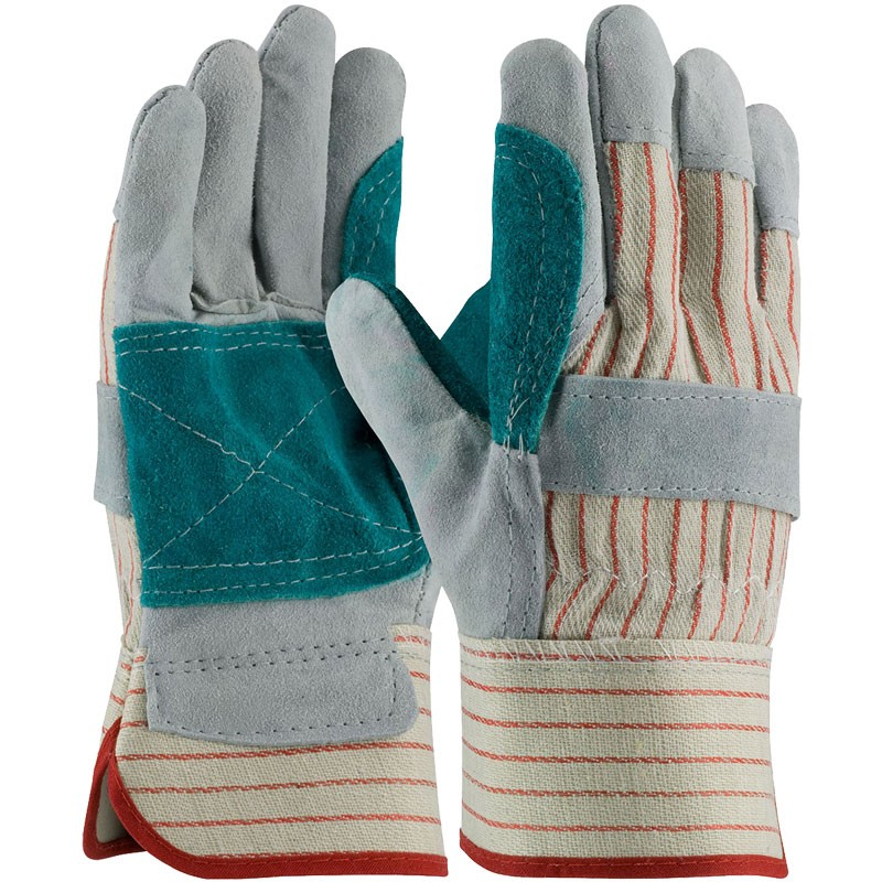 Economy Double Palm Leather Work Gloves, Rubberized Safety Cuff, Medium