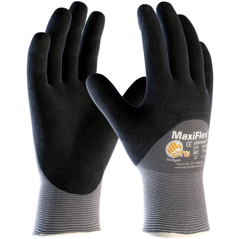 MaxiFlex® Ultimate™ Nylon Glove, 3/4 Coverage Nitrile MicroFoam Grip, Large
