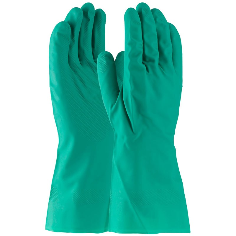 """13"""" 11 Mil. Green Nitrile Glove, Embossed Grip, Unlined, 2-XL"""