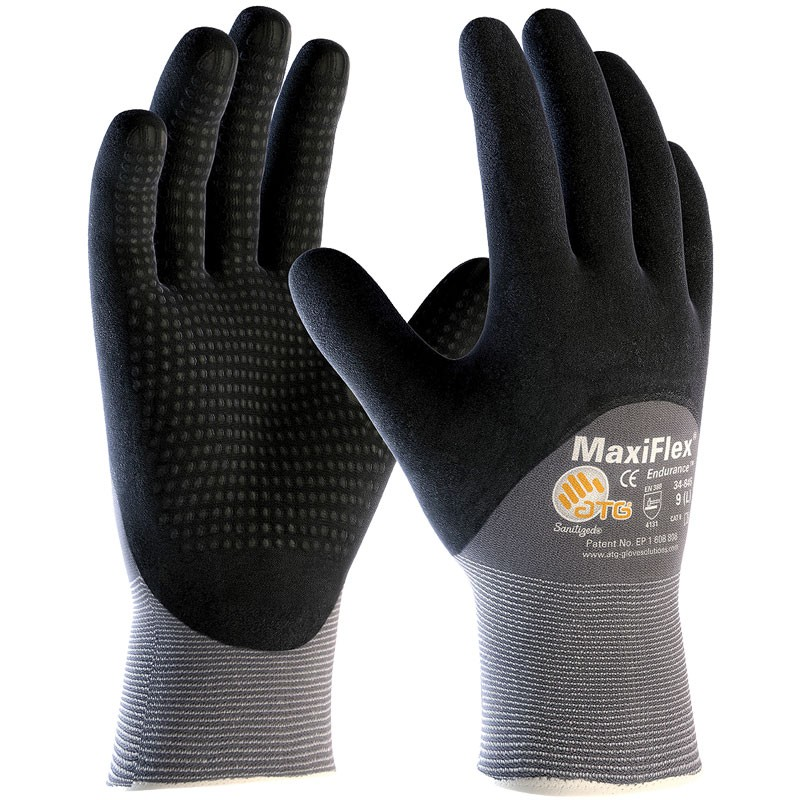MaxiFlex® Nylon Glove, 3/4 Coverage Dotted Nitrile MicroFoam Grip, Large