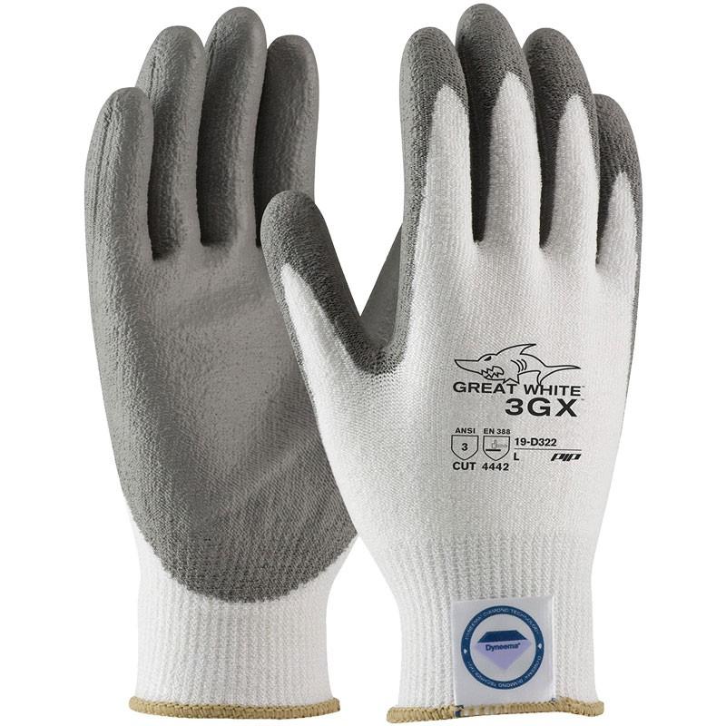 Great White® 3GX® Dyneema® Glove, PU Coated Palm, Large