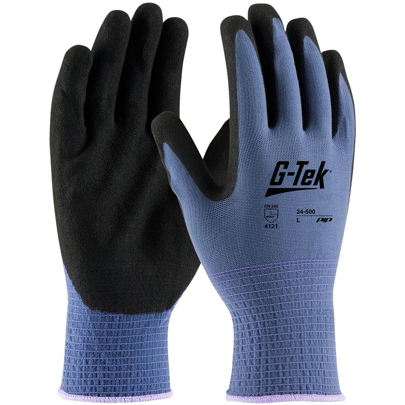 Blue Nylon Glove, Nitrile Coated MicroSurface Grip, Small