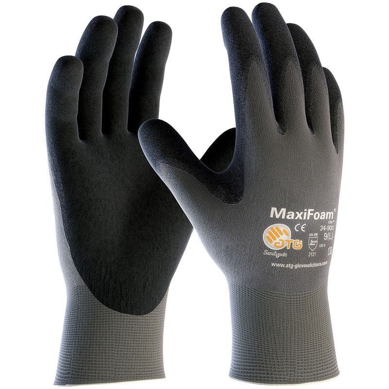 MaxiFoam® Lite™ Nylon Glove, Light Nitrile MicroFoam Grip, Medium