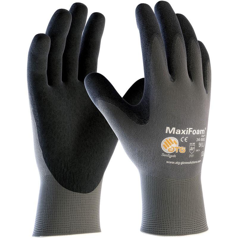 MaxiFoam® Lite™ Nylon Glove, Light Nitrile MicroFoam Grip, Large