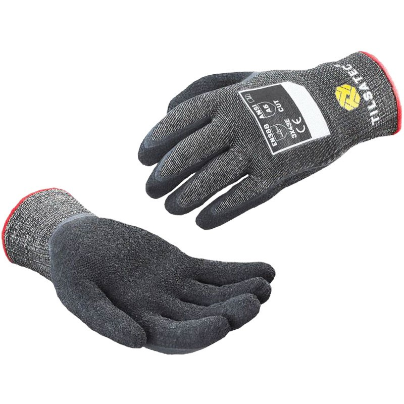 Tilsatec Cut-Resistant Glove, Latex Crinkle Dip Coated Palm, Small