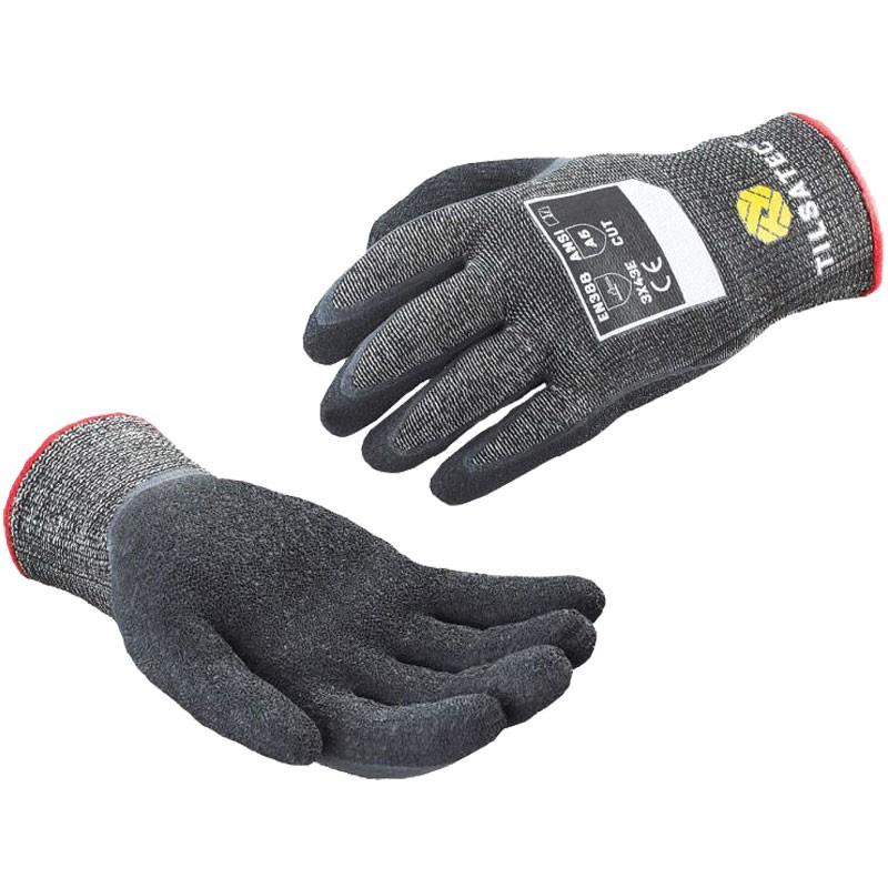 Tilsatec® Cut-Resistant Glove, Black Latex Coated Palm, Medium