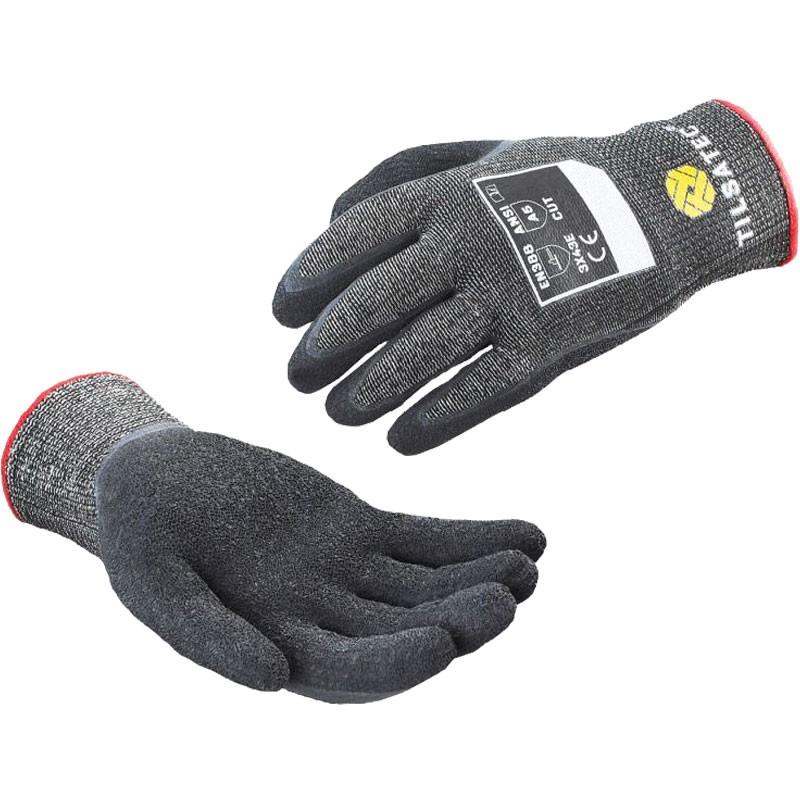 Tilsatec® Cut-Resistant Glove, Black Latex Coated Palm, Large
