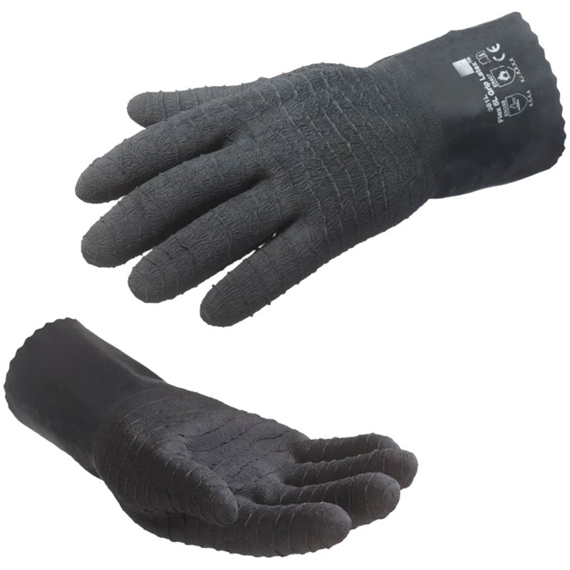 Cut-Resistant Black Latex Glove, Fully Dipped, Latex Crinkle Grip, Medium