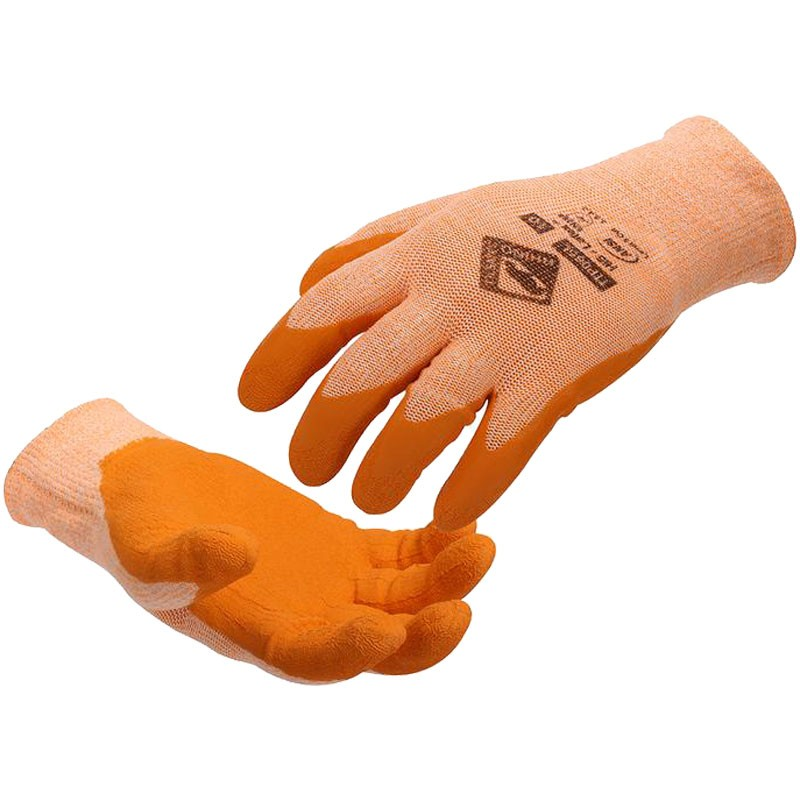 Hi5™ Cut-Resistant Glove, Orange Latex Coated Palm, Small