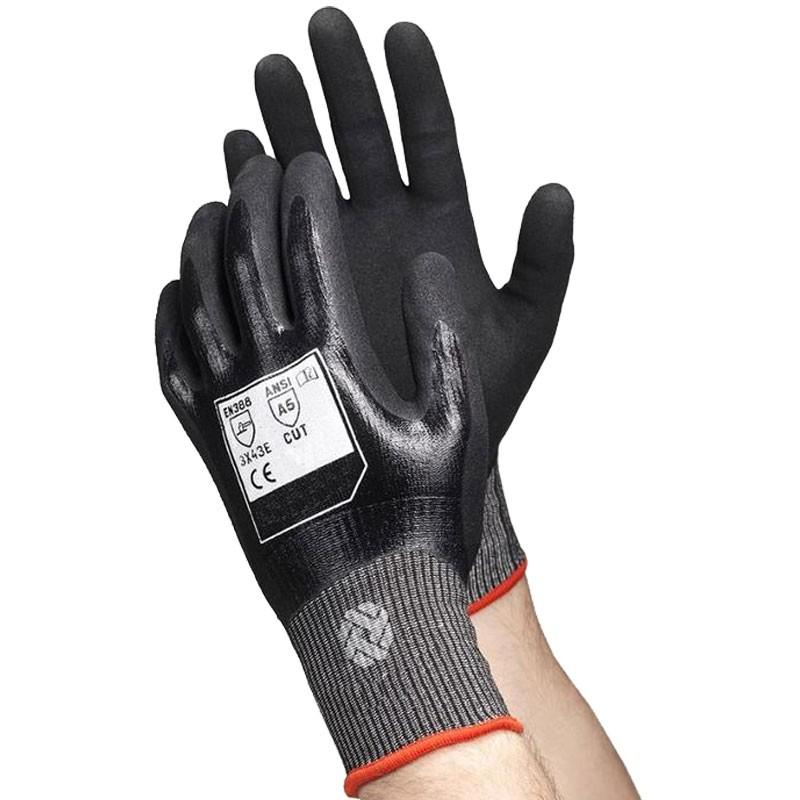 RhinoYarn® Cut-Resistant Glove, Full Nitrile Dip, Nitrile Microsurface Grip, Small