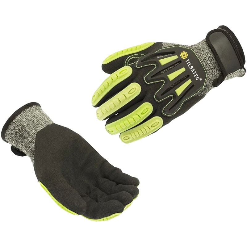 RhinoYarn® Cut-Resistant Glove W/ Impact Strips, Dipped Sandy Nitrile Grip, Small