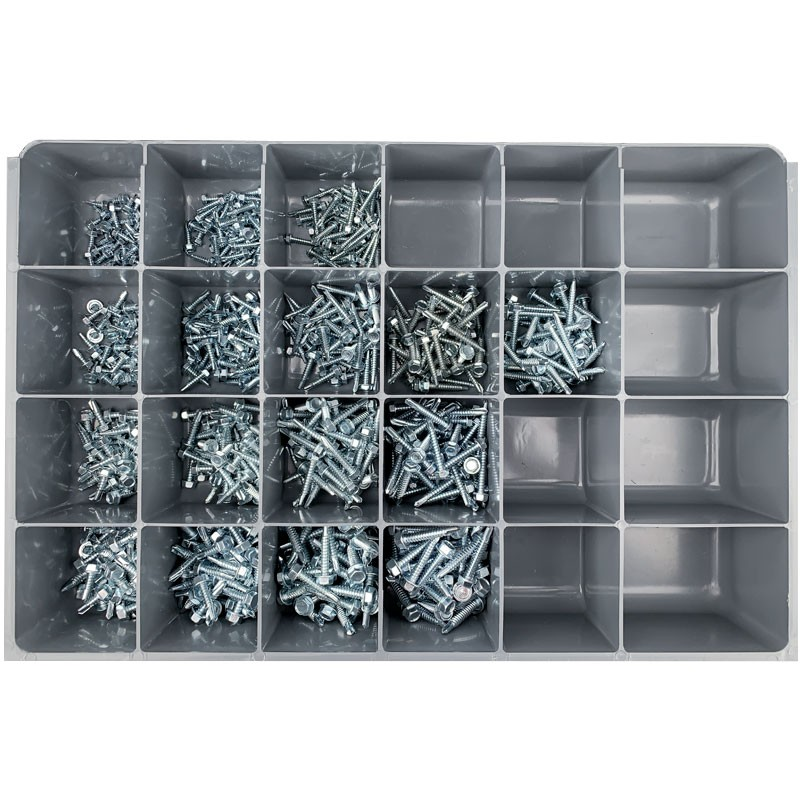 Kwik-Drill Sheet Metal Screw Assortment with 24-Compartment Drawer