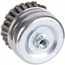 "4"" x 5/8""-11 Knot Wire Cup Brush .020 Wire -  Carbon Steel"