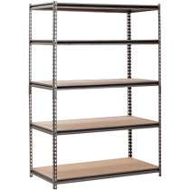 "Boltless Z-Beam Rivet Steel Shelving with Particle Board Shelves, 48"" x 24"" x 72"""