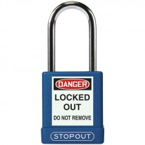 "Safety Lock Padlock 1-3/4"" Body 1-1/2"" Shackle, Blue - Keyed Differently"