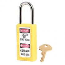 "Bilingual Safety Lockout Padlock 1-1/2"" Shackle, Yellow, Keyed Differently"
