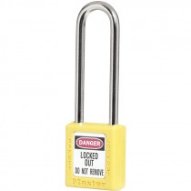 """Safety Lockout Padlock 3"""" Shackle, Yellow, Keyed Different"""