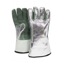 "13"" Leather Palm Gloves w/ Aluminized OPF Back - One Size Fits Most"