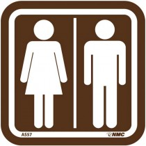 "3-1/2"" x 3-1/2"" Acrylic Men/Women Restroom Sign"