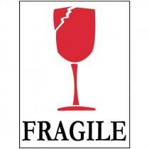 "3"" x 4"" Fragile (Graphic) Glass International Shipping Label"
