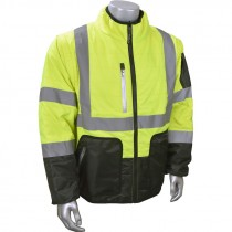 Hi-Vis Yellow Quilted Jacket, Reversible with Zip Off Sleeves, Medium