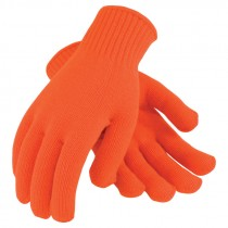 Orange Seamless Knit Acrylic Gloves, Large