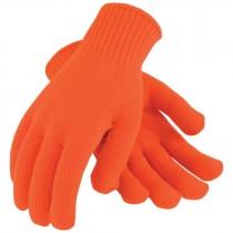 Orange Seamless Knit Acrylic Gloves, X-Large
