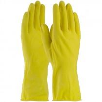 48L160Y-L Large 16 Mil. Flock Lined Honeycomb Grip Latex Gloves