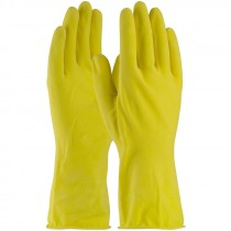 "12"" 16 Mil. Yellow Latex Glove, Embossed Grip, Flock Lined, Small"
