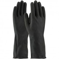 "13"" 28 Mil. Black Latex Glove, Embossed Grip, Flock Lined, 2-XL"