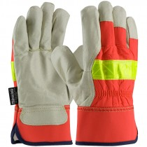 Pigskin Leather Palm Gloves, Hi-Vis Back, 3M™ Thinsulate™ Lined, X-Large