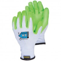 Dexterity® 10-Gauge Cotton/Poly Knit Glove with Green Hi Viz Latex Palm, X-Small