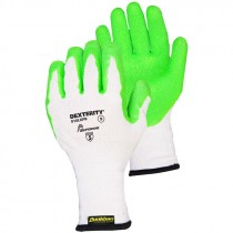 Dexterity® 10-Gauge Cotton/Poly Knit Glove with Green Hi Viz Latex Palm, Large
