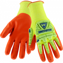 Hi-VIs Yellow Cut & Impact Resistant Glove, Orange Nitrile Coated Palm, Large