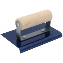 "QLT™ 6"" x 3"" Blue Steel Edger, 1/2"" Radius, 5/8"" Lip, Wood Handle"