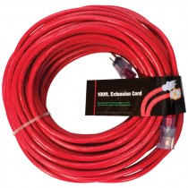 12/3 Red Extension Cord w/ Lighted End, 100'