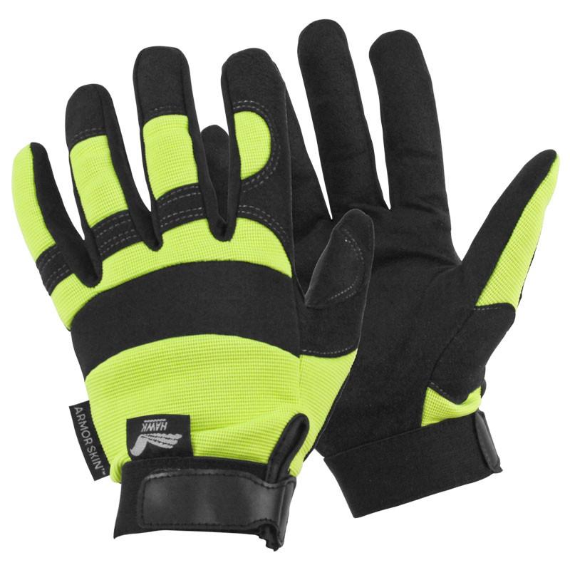 Armorskin Hi Vis Hawk Mechanics Gloves Hi Vis Yellow Large Hub
