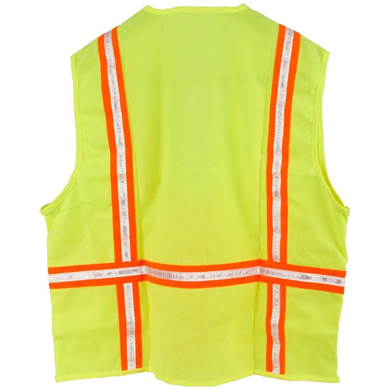 Large 2-Tone Solid Zip Safety Vest