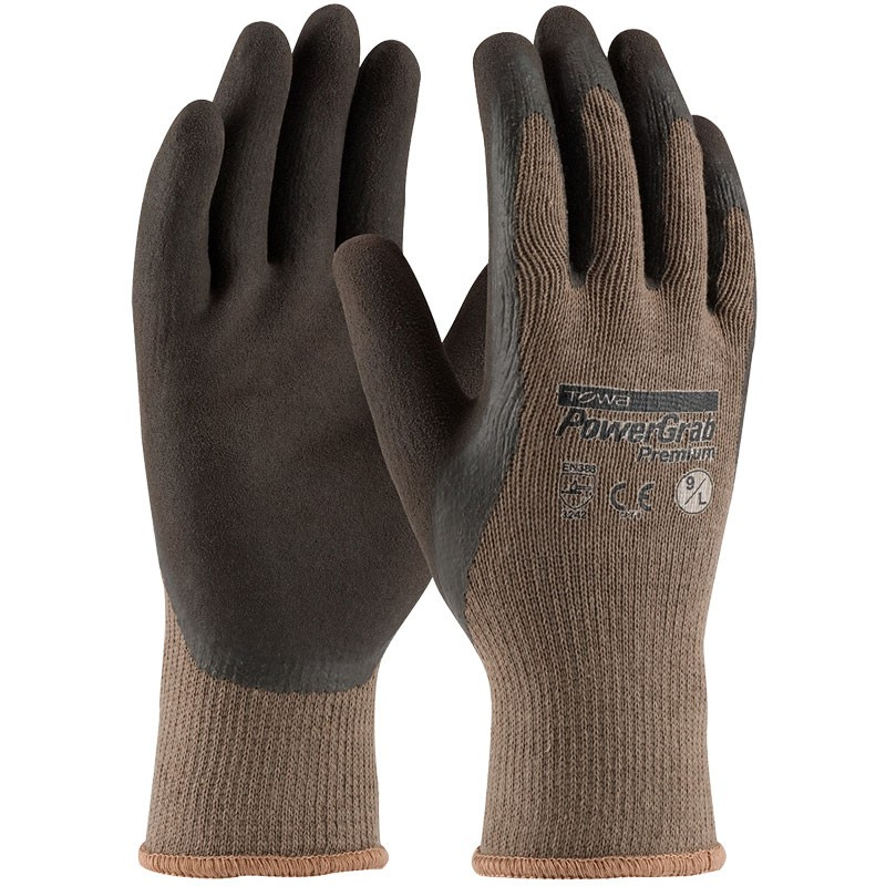 C1500-L Powergrab Brown Latex Microfinish Poly Large Gloves