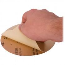 "6"" 400# Grit Rhynalox Red Line Premium PSA Sanding Disc"