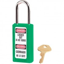 "Bilingual Safety Lockout Padlock 1-1/2"" Shackle, Green, Keyed Differently"