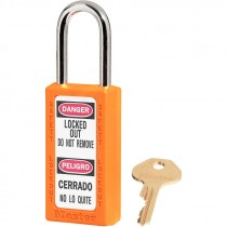 "Bilingual Safety Lockout Padlock 1-1/2"" Shackle, Orange, Keyed Differently"