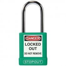 "Safety Lock Padlock 1-3/4"" Body 1-1/2"" Shackle, Green - Keyed Alike"