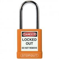 """Safety Lock Padlock 1-3/4"""" Body 1-1/2"""" Shackle, Orange - Keyed Alike"""