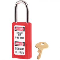 "Bilingual Safety Lockout Padlock 1-1/2"" Shackle, Red, Keyed Differently"