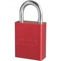 "Aluminum Safety Lockout Padlock, 1"" Shackle, Red, Keyed Different"