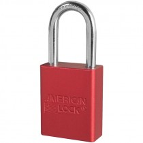 "Aluminum Safety Lockout Padlock, 1-1/2"" Shackle, Red, Keyed Different"